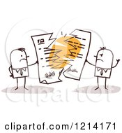 Clipart Of Angry Stick People Business Men Tearing Apart A Contract Royalty Free Vector Illustration
