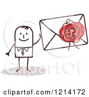 Clipart Of A Stick People Business Man Holding A Sealed Envelope Royalty Free Vector Illustration by NL shop