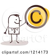 Clipart Of A Stick People Business Man Holding A Copyright Symbol Royalty Free Vector Illustration