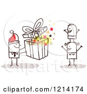 Clipart Of A Stick People Business Man Giving His Wife And Son A Christmas Gift Royalty Free Vector Illustration by NL shop