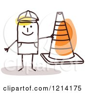 Clipart Of A Stick People Construction Worker Man Holding A Cone Royalty Free Vector Illustration