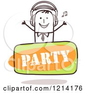 Clipart Of A Stick People Business Man DJ Over A Party Sign Royalty Free Vector Illustration by NL shop