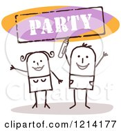 Clipart Of A Stick People Couple Cheering Under A PARTY Sign Royalty Free Vector Illustration