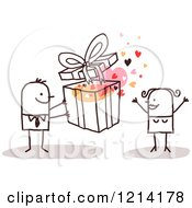 Clipart Of A Stick People Business Man Giving A Woman A Gift Royalty Free Vector Illustration by NL shop