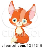 Clipart Of A Sitting Cute Fox With Blue Eyes Royalty Free Vector Illustration by Pushkin