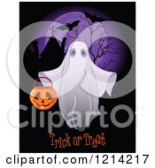 Clipart Of A Halloween Ghost Holding A Bucket Over Trick Or Treat Text And A Full Moon With Bats Royalty Free Vector Illustration by Pushkin
