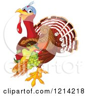 Clipart Of A Cute Turkey Bird Carrying A Thanksgiving Cornucopia Royalty Free Vector Illustration