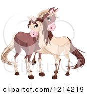 Clipart Of Cute Horses Cuddling Royalty Free Vector Illustration