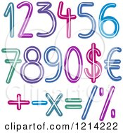 Colorful Brush Stroked Numbers Currency And Math Symbols
