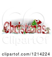 Clipart Of The Word CHRISTMAS With Santa Mrs Claus Elves And Reindeer Royalty Free Illustration by djart