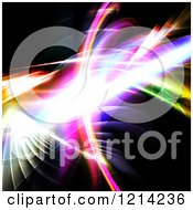 Clipart Of A Glowing Fractal With Lines On Black Royalty Free CGI Illustration