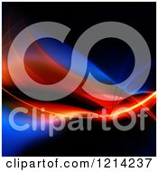 Clipart Of A Glowing Red And Blue Fractal Swoosh On Black Royalty Free CGI Illustration