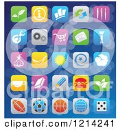Clipart Of IOS 7 Styled Interface App Icons Over Blue Royalty Free Vector Illustration by cidepix
