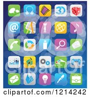 Clipart Of IOS 7 Styled Interface App Icons Over Blue 2 Royalty Free Vector Illustration by cidepix