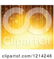 Clipart Of A Background Of Golden Stars And Sparkles Royalty Free Vector Illustration by visekart