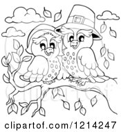 Clipart Of An Outlined Owl Thanksgiving Pilgrim Couple Royalty Free Vector Illustration by visekart