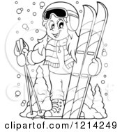Clipart Of An Outlined Happy Cartoon Girl With Ski Gear Royalty Free Vector Illustration by visekart