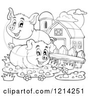 Outlined Happy Pigs In A Barnyard