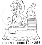 Clipart Of An Outlined Cartoon Happy Housewife Ironing Laundry Royalty Free Vector Illustration by visekart