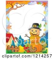 Clipart Of A Thanksgiving Pumpkin Man With A Cornucopia Border Royalty Free Vector Illustration