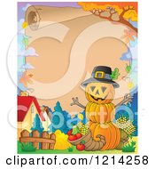 Clipart Of A Parchment With Copyspace A Thanksgiving Pumpkin Man And A Cornucopia Royalty Free Vector Illustration