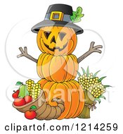 Clipart Of A Thanksgiving Pumpkin Man With A Cornucopia Royalty Free Vector Illustration