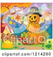 Thanksgiving Pumpkin Man With A Cornucopia In A Meadow