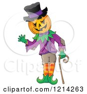 Clipart Of A Waving Halloween Jackolantern Man With A Cane Royalty Free Vector Illustration by visekart