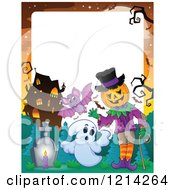 Clipart Of A Border Of A Waving Halloween Jackolantern Man With Ghosts And A Bat In A Haunted House Cemetery Royalty Free Vector Illustration