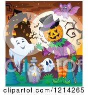 Clipart Of A Waving Halloween Jackolantern Man With Ghosts And A Bat In A Haunted House Cemetery Royalty Free Vector Illustration
