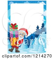 Clipart Of A Border With Santa Carrying Christmas Presents Royalty Free Vector Illustration