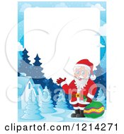 Clipart Of A Border With Santa Holding A Sack In A Winter Village Royalty Free Vector Illustration