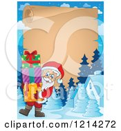 Clipart Of A Parchment Bordered With Santa Carrying Christmas Presents Royalty Free Vector Illustration