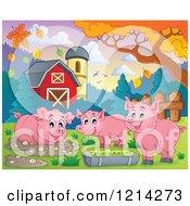 Happy Pigs In A Barnyard