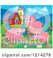 Happy Pigs With Mud Puddles And Food In A Barnyard