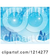 Clipart Of A Background Of Winter Icicles Over Snowy Hills And Evergreen Trees Royalty Free Vector Illustration by visekart