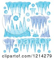Clipart Of Winter Icicles And Snowflakes Royalty Free Vector Illustration by visekart