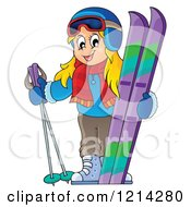 Clipart Of A Happy Blond Cartoon Girl With Ski Gear Royalty Free Vector Illustration