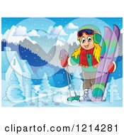 Clipart Of A Happy Blond Cartoon Girl With Ski Gear In A Snowy Village Royalty Free Vector Illustration by visekart