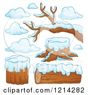 Winter Logs Stumps And Branches With Snow