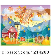 Clipart Of A Barn And Silo With Autumn Leaves And Tree Branches Royalty Free Vector Illustration