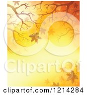Clipart Of A Background Of Golden Light With Branches And Autumn Leaves Royalty Free Vector Illustration by visekart