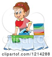 Clipart Of A Cartoon Happy Housewife Ironing Laundry Royalty Free Vector Illustration by visekart