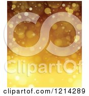 Clipart Of A Background Of Golden Sparkles And Flares Royalty Free Vector Illustration