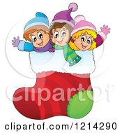 Clipart Of Happy Cartoon Children Waving In A Giant Christmas Stocking Royalty Free Vector Illustration