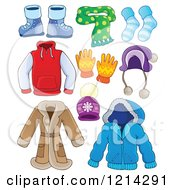 Clipart Of Winter Clothing Apparel And Accessories Royalty Free Vector Illustration