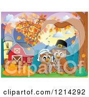 Clipart Of An Owl Thanksgiving Pilgrim Couple By A Barn Royalty Free Vector Illustration by visekart