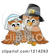 Clipart Of An Owl Thanksgiving Pilgrim Couple Royalty Free Vector Illustration by visekart