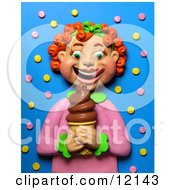 Clay Sculpture Clipart Red Haired Girl Smiling At A Chocolate Ice Cream Cone Royalty Free 3d Illustration by Amy Vangsgard
