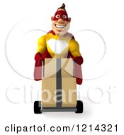Clipart Of A 3d Super Hero Man In A Yellow And Red Costume Pushing Boxes On A Dolly Royalty Free Illustration